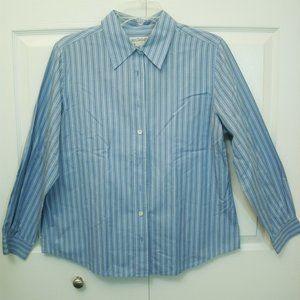 Ann Taylor Blue Striped LS Button Up Shirt, PL